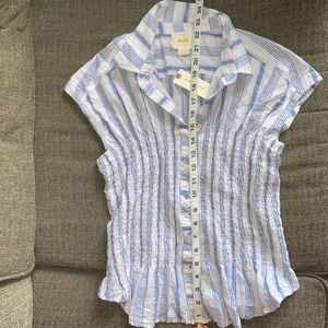 Anthropologie Striped Shirt Blue White Ruched S